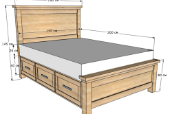 Размеры кровати из фанеры с ящиками