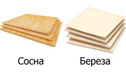 Внешний вид фанеры из сосны и из березы