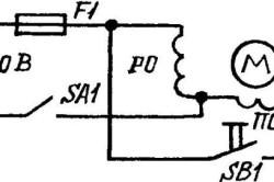 Принципиальная электрическая схема запуска электродвигателя