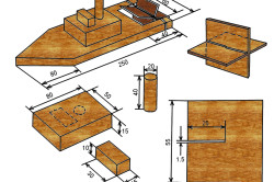 Схема модели кораблика из фанеры