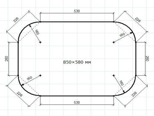 Схема столешницы из фанеры с