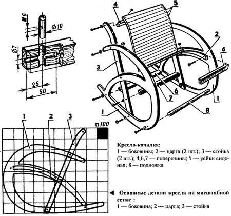 Чертежи кресла качалки из фанеры своими руками чертежи 10